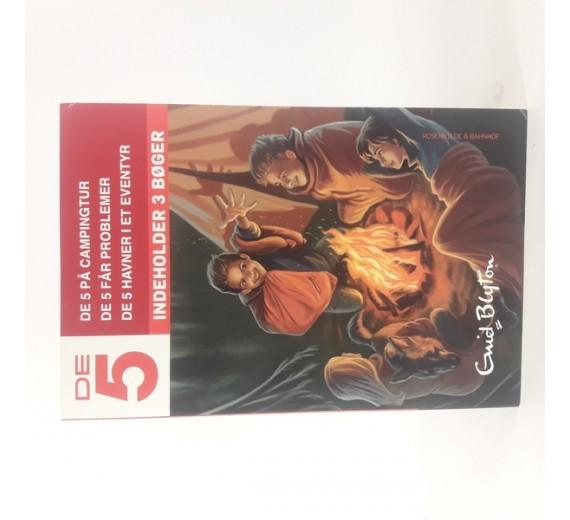 De fem 1-3 , Enid Blyton indeholder 3 bøger. de fem på campingtur, de 5 får problemer, de fem havner i et eventyr.